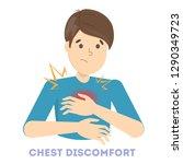 man feel chest discomfort.... | Shutterstock .eps vector #1290349723