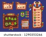 cartoon game ui. wooden...