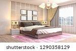 bedroom interior. 3d... | Shutterstock . vector #1290358129