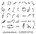 arrows collection. hand drawing ... | Shutterstock .eps vector #1290374710