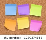 sticky empty notes. corkwood... | Shutterstock .eps vector #1290374956