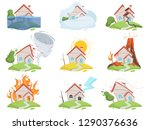 nature disaster damage. fire... | Shutterstock .eps vector #1290376636
