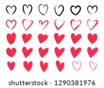 drawing of hearts. hearts with...   Shutterstock .eps vector #1290381976