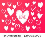 drawing of hearts. hearts with... | Shutterstock .eps vector #1290381979