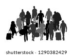 passengers with luggage walking ... | Shutterstock .eps vector #1290382429
