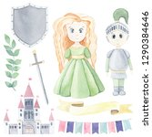 Watercolor Set With Princess ...