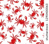 pattern with red crabs on white ... | Shutterstock .eps vector #1290400063