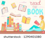 young girl is reading book.... | Shutterstock .eps vector #1290401080