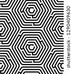 black and white hexagon maze...   Shutterstock .eps vector #1290409630