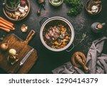 cooking preparation of stewed... | Shutterstock . vector #1290414379