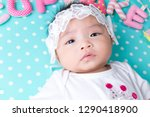 cut baby with pretty wear lying ... | Shutterstock . vector #1290418900