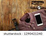 set of stylish male clothes and ... | Shutterstock . vector #1290421240