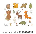 Stock vector animals of the forest set with cute cartoon bears fox hare and squirrel owl and deer design 1290424759