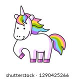 cute unicorn with rainbow mane. ... | Shutterstock .eps vector #1290425266
