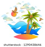 beach with palms  sea waves... | Shutterstock .eps vector #1290438646
