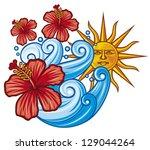 beautiful red hibiscus flower ... | Shutterstock .eps vector #129044264