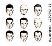 set of men faces  human heads.... | Shutterstock .eps vector #1290443416
