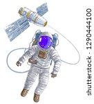 astronaut flying in open space... | Shutterstock .eps vector #1290444100
