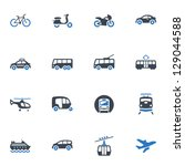 transportation icons   blue... | Shutterstock .eps vector #129044588