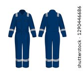 blue work overalls with safety...   Shutterstock .eps vector #1290446686