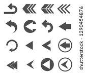 back arrow sign icons set vector | Shutterstock .eps vector #1290454876