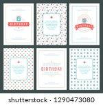 happy birthday cards design set ... | Shutterstock .eps vector #1290473080