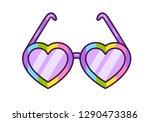 rainbow rimmed hearts glasses.... | Shutterstock .eps vector #1290473386