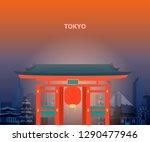 illustration of tokyo temple... | Shutterstock .eps vector #1290477946