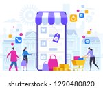 online shopping and delivery of ... | Shutterstock .eps vector #1290480820