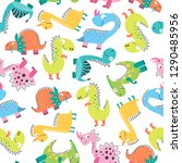 childish seamless pattern with... | Shutterstock .eps vector #1290485956