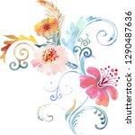 bouquet of flowers in...   Shutterstock .eps vector #1290487636