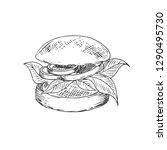 hand drawn veggie burgers.... | Shutterstock .eps vector #1290495730