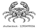 crab shape as a tribal art... | Shutterstock .eps vector #1290499036