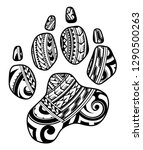 dog paw as a tattoo with tribal ... | Shutterstock .eps vector #1290500263