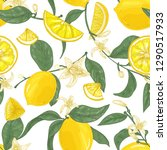 seamless pattern with lemons ... | Shutterstock .eps vector #1290517933