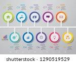 10 steps timeline infographic... | Shutterstock .eps vector #1290519529