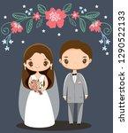 cute wedding couple cartoon... | Shutterstock .eps vector #1290522133