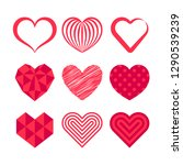 vector set with stylized hearts.... | Shutterstock .eps vector #1290539239