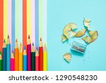 colored pencils  trash and... | Shutterstock . vector #1290548230