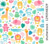 colorful cute jungle animals... | Shutterstock .eps vector #1290548329