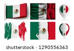 set of mexico flags collection... | Shutterstock .eps vector #1290556363