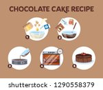 chocolate cake recipe for... | Shutterstock .eps vector #1290558379