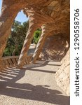 park guell in barcelona  spain. ... | Shutterstock . vector #1290558706