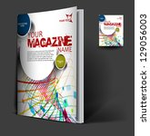magazine cover layout design... | Shutterstock .eps vector #129056003