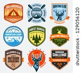 set of outdoor adventure badges ... | Shutterstock .eps vector #129056120