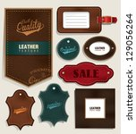 set of leather labels and tags | Shutterstock .eps vector #129056264