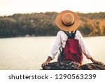 female tourists in beautiful... | Shutterstock . vector #1290563239