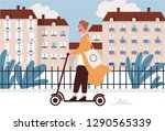 happy young man riding... | Shutterstock .eps vector #1290565339