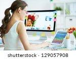 portrait of pretty female...   Shutterstock . vector #129057908