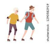 elderly couple on roller skates.... | Shutterstock .eps vector #1290582919